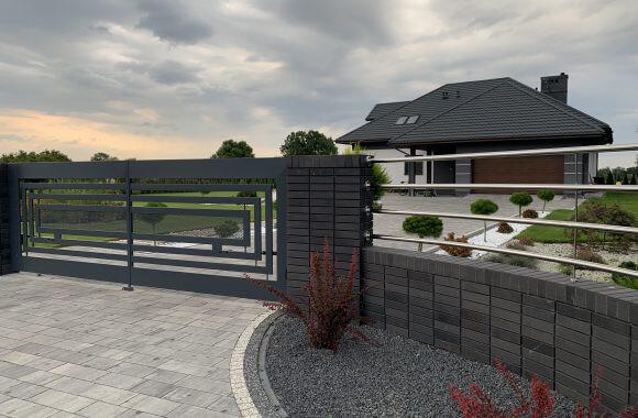 Nowoczesne ogrodzenie ze stali nierdzewnej oraz aluminium i klinkieru