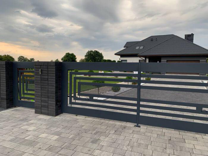 Ogrodzenie aluminiowe, nowoczesne, brama wjazdowa - Piaseczno