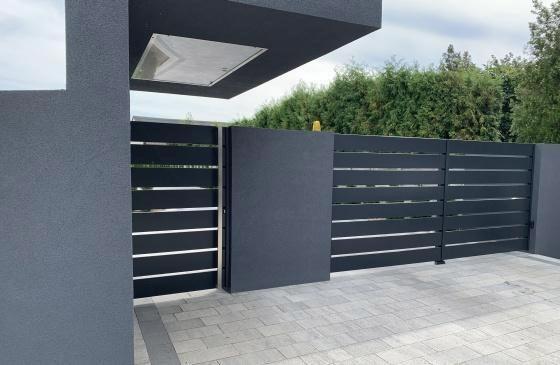 Nowoczesne ogrodzenie zaluminiowych poziomych sztachet - plotex.net.